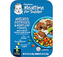 Gerber Mashed Potatoes & Meatloaf in Gravy with a Side of Carrots Peas and Corn Tray 6.67 Oz