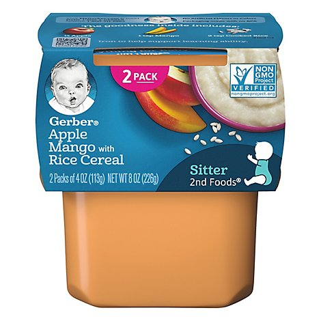 Gerber 2nd Foods Baby Food Apples & Mangoes With Rice Cereal - 2-4 Oz