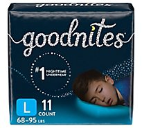 GoodNites Bedtime Pants Boy Fit Sizes 8-14 L-XL - 11 Count