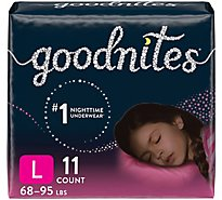 GoodNites Bedtime Pants Girl Fit Sizes 8-14 L-XL - 11 Count