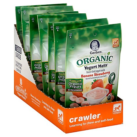 Gerber Yogurt Melts Baby Food Crawler Organic Banana Strawberry - 1 Oz