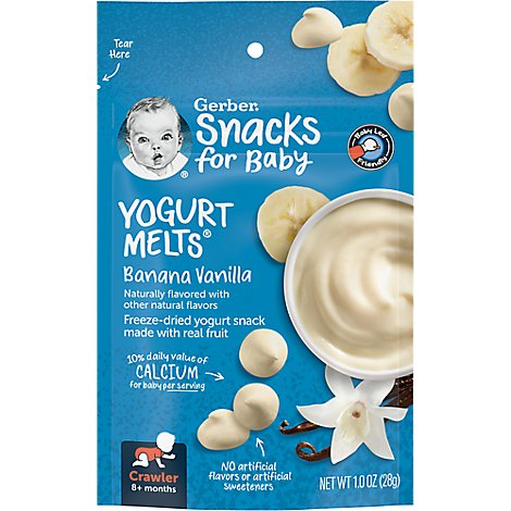 Gerber Graduates Yogurt Melts Freeze-Dried Yogurt & Fruit Snacks Banana Vanilla - 1 Oz