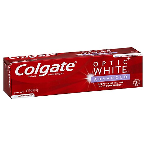 Colgate Optic White Toothpaste Anticavity Fluoride Sparkling White - 5 Oz