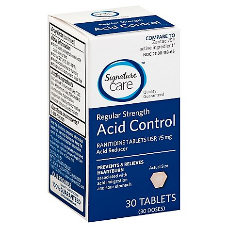 Signature Care Acid Control Acid Reducer Ranitidine USP 75mg Regular Strength Tablet - 30 Count
