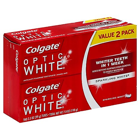 Colgate Optic White Toothpaste Anticavity Fluoride Sparkling Mint Value Pack - 2-3.5 Oz