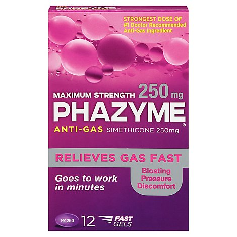 Phazyme Anti-Gas Softgels Maximum Strength 250 mg - 12 Count