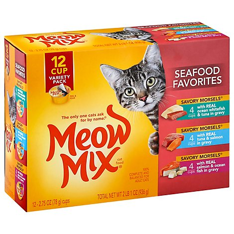 Meow Mix Savory Morsels Cat Food Cups Seafood Favorites Variety Pack - 12-2.75 Oz