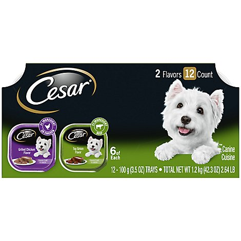 Cesar Classics Canine Cuisine In Meaty Juices Grilled Chicken Top Sirloin Flavor Tub - 12-3.5 Oz
