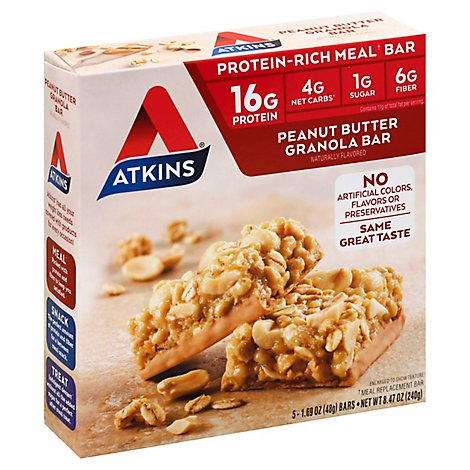 Atkins Advantage Bar Peanut Butter Granola - 5-1.7 Oz