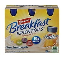 Carnation Breakfast Essentials Ready-To-Drink Bottles Classic French Vanilla - 6-8 Fl. Oz.