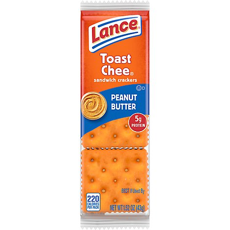 Lance Toast Chee Crackers Sandwich Real Peanut Butter - 8-1.52 Oz