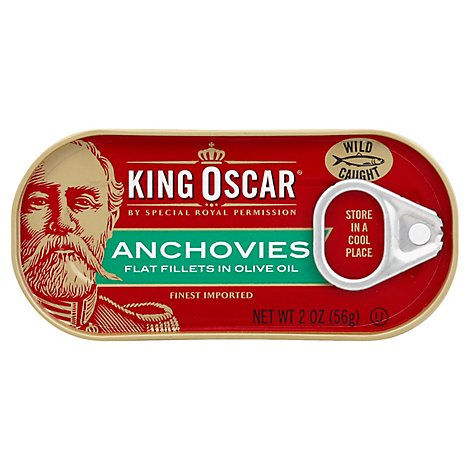 King Oscar Anchovies Flat Fillets in Olive Oil Omega-3 - 2 Oz