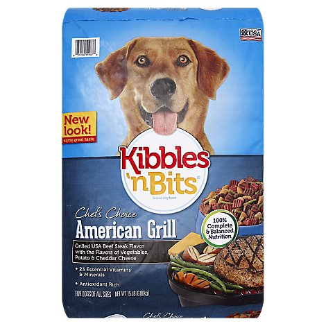 Kibbles N Bits Dog Food Chefs Choice American Grill Beef Steak Veggies Potato & Cheddar - 15 Lb