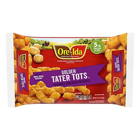 Ore-Ida Potatoes Shredded Tater Tots Seasoned Family Size - 5 Lb