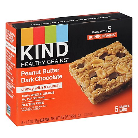 KIND Healthy Grains Granola Bars Peanut Butter Dark Chocolate - 5 Count