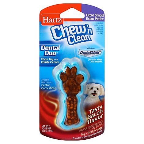 Hartz Chew n Clean Toy + Treat For Dogs Bacon Flavor Extra Small - Each