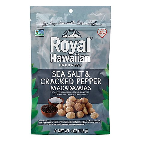 Royal Hawaiian Orchards Macadamia Nuts Roasted Sea Salt & Cracked Pepper - 4 Oz