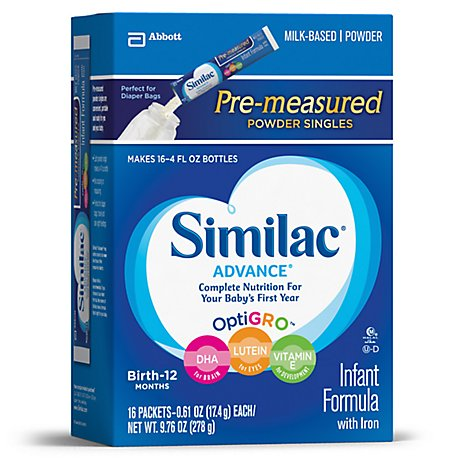 Similac Advance Milk-Based Powder Infant Formula with Iron Stage 1 On-the-Go - 16-0.61 Oz