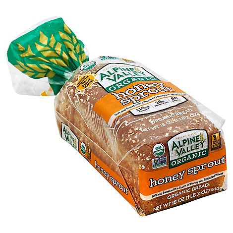 Alpine Valley Bread Honey Wheat With Flax - 18 Oz