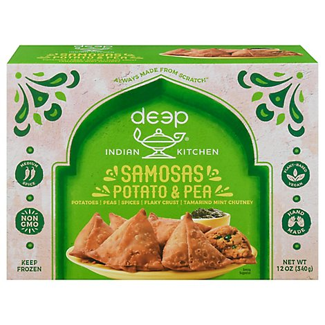 Deep Indian Kitchen Potato & Pea Samosas with Chutney - 12 Oz