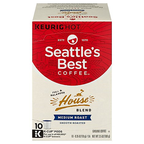 Seattles Best Coffee Coffee K-Cup Pods Medium Roast House Blend - 10 Count