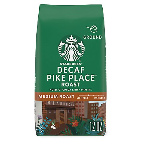 Starbucks Coffee Ground Medium Roast Pike Place Roast Decaf Bag - 12 Oz