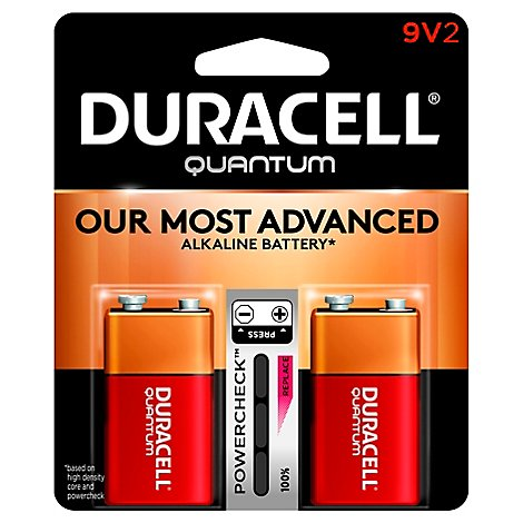 Duracell Quantum Battery Alkaline With Powercheck 9V - 2 Count