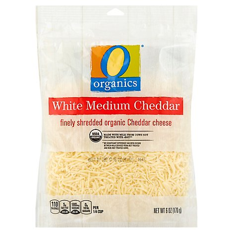 O Organics Organic Cheese Finely Shredded White Cheddar - 6 Oz
