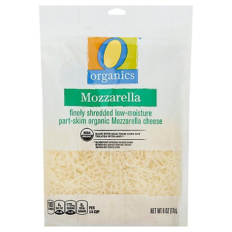 O Organics Organic Cheese Finely Shredded Low-Moisture Part-Skim Mozzarella - 6 Oz