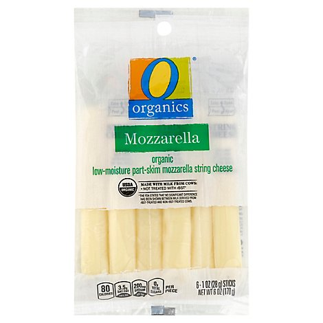 O Organics Organic Cheese String Low-Moisture Mozzarella Part-Skim 6 Count - 6 Oz