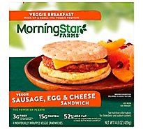 MorningStar Farms Veggie Breakfast Sandwich Sausage Egg & Cheese 4Ct 14.8oz