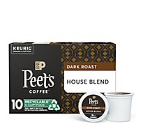 Peets Coffee Coffee Arabica K-Cup Packs Deep Roast House Blend - 10-0.47 Oz