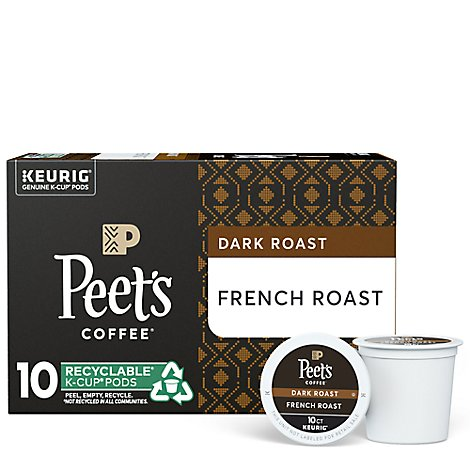 Peets Coffee Coffee Arabica K-Cup Packs Deep Roast French Roast - 10-0.43 Oz