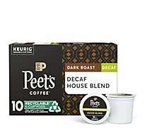Peets Coffee Coffee Arabica K-Cup Packs Deep Roast House Blend Decaffeinated - 10-0.46 Oz