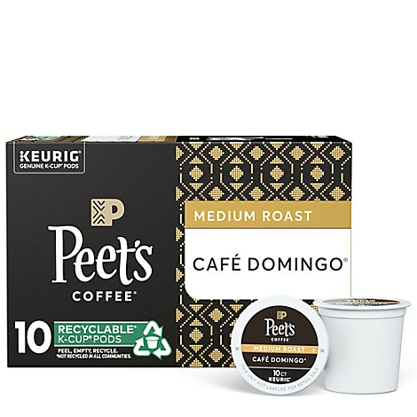 Peets Coffee Coffee Arabica K-Cup Packs Medium Roast Cafe Domingo - 10-0.43 Oz