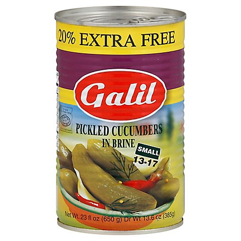 Galil Cucumbers Pickeld In Brine Small 13-17 Can - 23 Fl. Oz.
