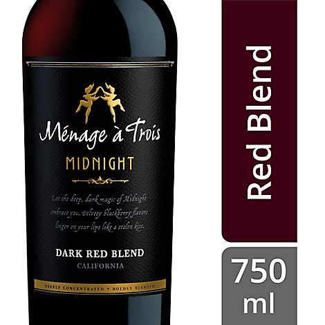 Menage a Trois Wine Dark Red Blend Midnight California - 750 Ml