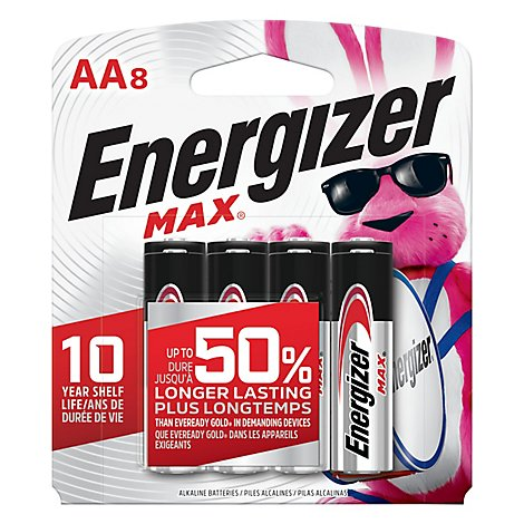 Energizer MAX Battery Long Lasting Alkaline AA8 - 8 Count