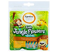 Signature Care Kids Jungle Flossers Tropical Fruit Flavor - 36 Count