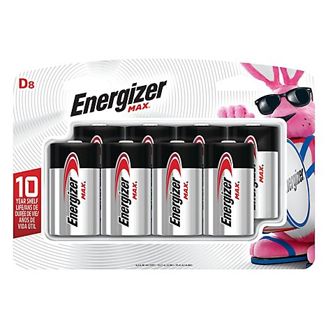 Energizer MAX Multipurpose Battery - D - Alkaline - 8 Pack