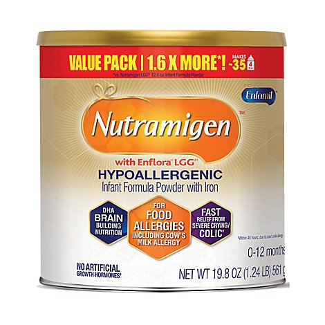 Nutramigen Infant Formula Powder With Iron Hypoallergenic 1 (0-12 Months) Value Size - 19.8 Oz