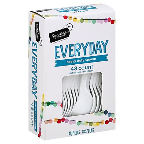 Signature SELECT Spoons Plastic Everyday Heavy Duty Box - 48 Count