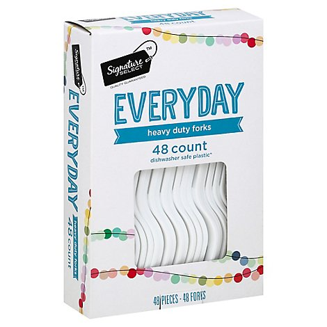 Signature SELECT Forks Plastic Everyday Heavy Duty Box - 48 Count