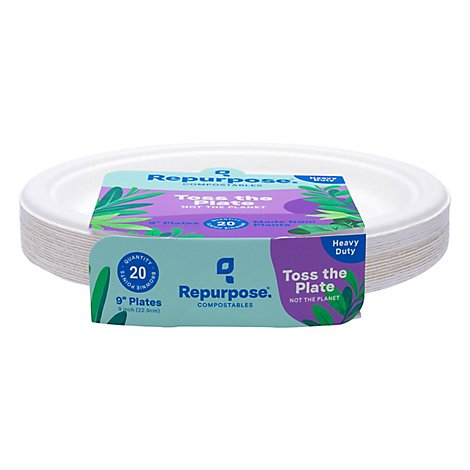 Repurpose Plates Sectional BPA-Free Compostable 9 Inch Shrink Wrapped - 20 Count