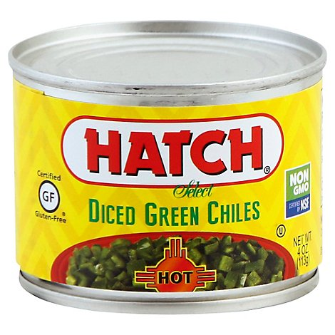 HATCH Select Green Chiles Gluten Free Diced Hot Can - 4 Oz