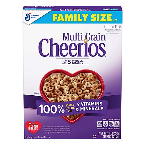 Cheerios Cereal Multi Grain Lightly Sweetened Family Size Box - 18 Oz