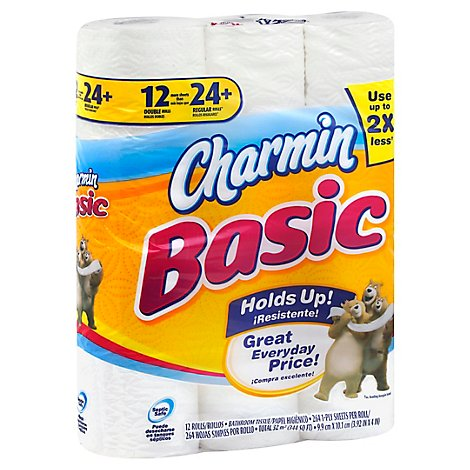Charmin Bathroom Tissue Double Roll 1-Ply Unscented Wrapper - 12 Roll