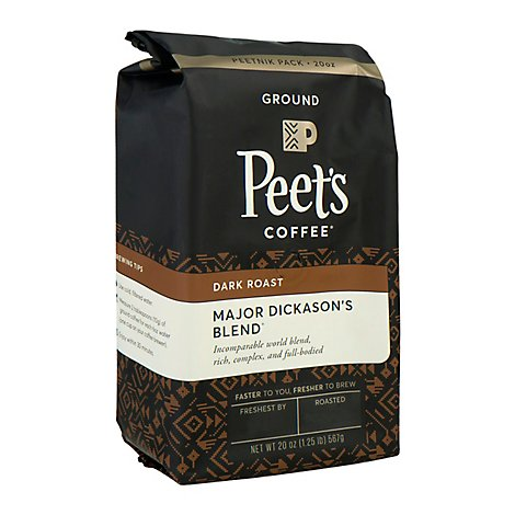 Peets Coffee Coffee Ground Deep Roast Major Dickasons Blend - 20 Oz