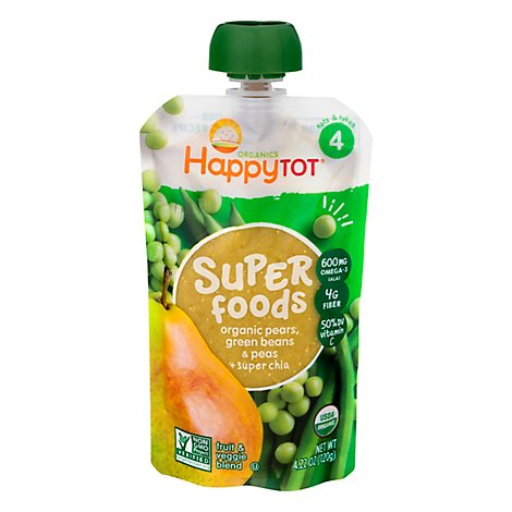 Happy Tot Organics Fruit & Veggie Blend Organic Pears Peas & Green Beans + Super Chia 4 - 4.22 Oz