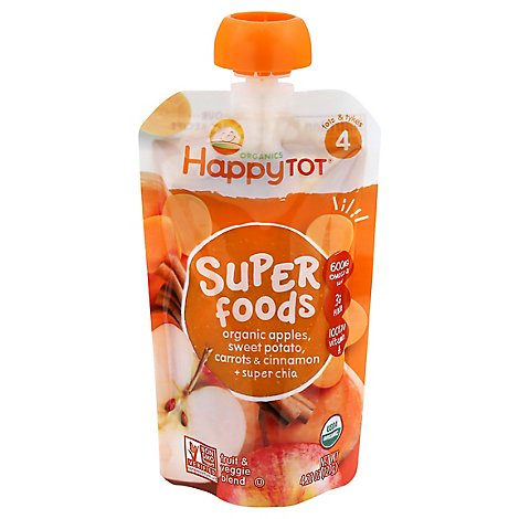 Happy Tot Organics Fruit & Veggie Blend Apples Sweet Potato Carrots Cinnamon + Super Chia - 4.22 Oz